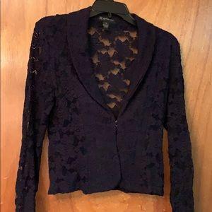 Lace navy blazer